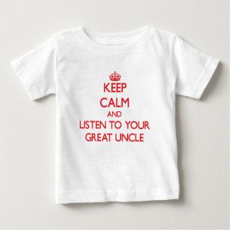 Camiseta Para Bebê Mantenha a calma e escute seu grande tio
