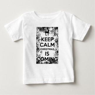 Camiseta Para Bebê MANTENHA a CALMA que ELE CHRISMAS É COMING.ai