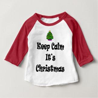 Camiseta Para Bebê Mantenha a calma seus Natal e árvore