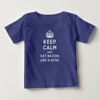 Camiseta Para Bebê Mantenha calmo e coma o bacon como um chefe