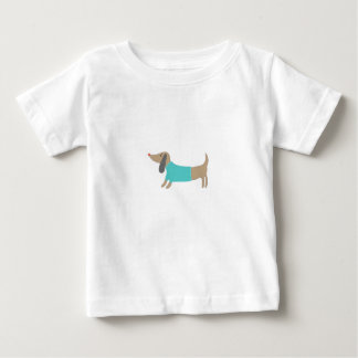Camiseta Para Bebê Mão bonito cachorrinho tirado