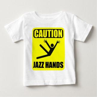 Camiseta Para Bebê Mãos do jazz do cuidado