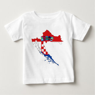 Camiseta Para Bebê Mapa da bandeira de Croatia