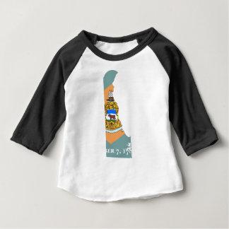 Camiseta Para Bebê Mapa da bandeira de Delaware