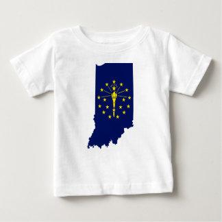 Camiseta Para Bebê Mapa da bandeira de Indiana