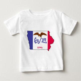 Camiseta Para Bebê Mapa da bandeira de Iowa
