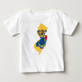 Camiseta Para Bebê Mapa da bandeira de New-jersey
