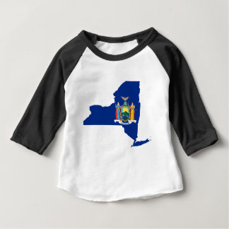 Camiseta Para Bebê Mapa da bandeira de New York