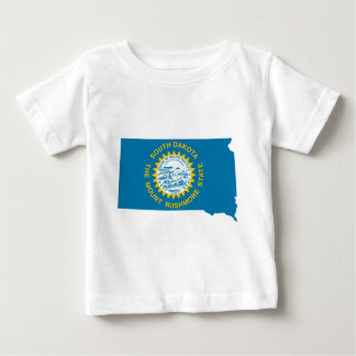 Camiseta Para Bebê Mapa da bandeira de South Dakota