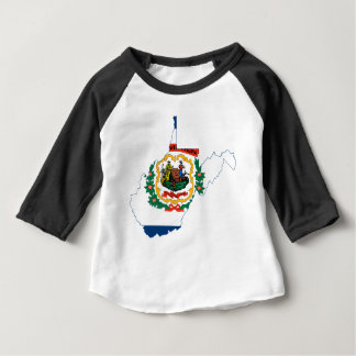 Camiseta Para Bebê Mapa da bandeira de West Virginia