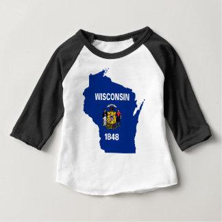 Camiseta Para Bebê Mapa da bandeira de Wisconsin