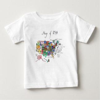 Camiseta Para Bebê Mapa das atrações dos Estados Unidos da América