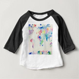 Camiseta Para Bebê mapa do mundo da cor de água