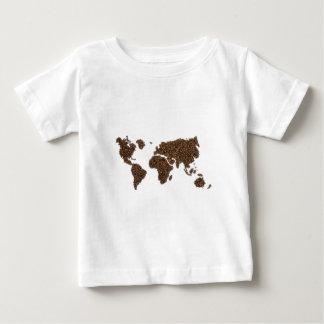 Camiseta Para Bebê Mapa do mundo enchido com os feijões de café