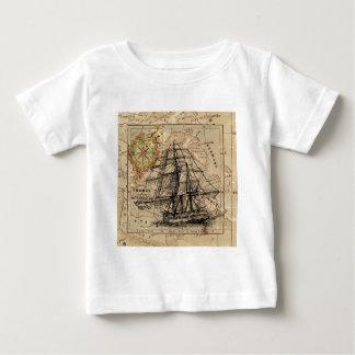 Camiseta Para Bebê Mapa e navio do vintage