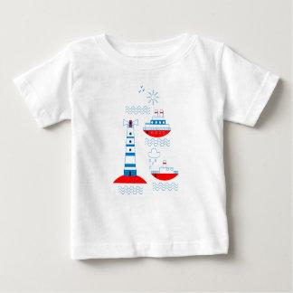 Camiseta Para Bebê Mar, navios, faróis