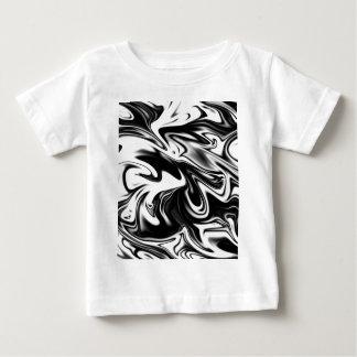 Camiseta Para Bebê Mármore branco preto liquefeito,