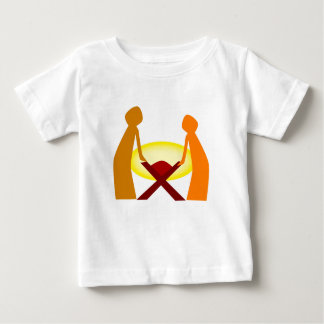 Camiseta Para Bebê Mary Joseph e bebê Jesus
