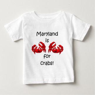 Camiseta Para Bebê Maryland é para caranguejos