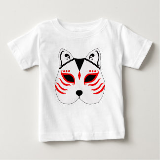 Camiseta Para Bebê Máscara japonesa do gato