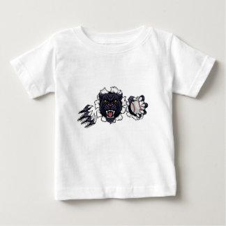 Camiseta Para Bebê Mascote do basebol da pantera preta que quebra o