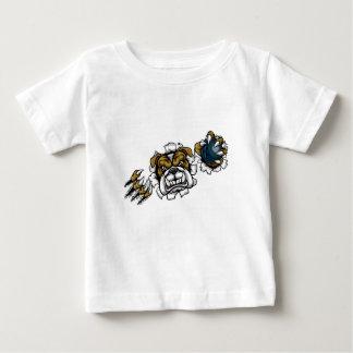 Camiseta Para Bebê Mascote dos esportes da boliche do buldogue