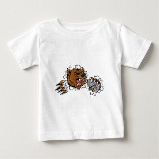 Camiseta Para Bebê Mascote irritada de Esports do urso