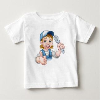 Camiseta Para Bebê Mecânico dos desenhos animados ou mulher do