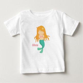 Camiseta Para Bebê Menina bonito da sereia para os bebés