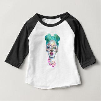 Camiseta Para Bebê Menina com a cerceta original do rosa da arte do