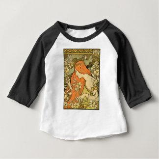 Camiseta Para Bebê Menina do Pinup de Nouveau do francês no campo das