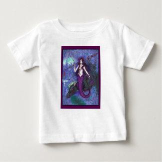 Camiseta Para Bebê Menina roxa da sereia com a serpente de mar do