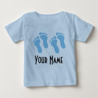 Camiseta Para Bebê Menino gêmeo pegadas personalizadas do bebê