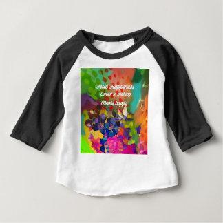 Camiseta Para Bebê Mensagem da felicidade de Voltaire.