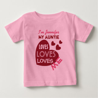 Camiseta Para Bebê Meu Auntie Amor Me com texto feito sob encomenda