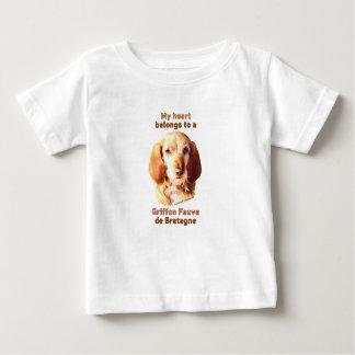 Camiseta Para Bebê Meu coração pertence a um Griffon Fauve de
