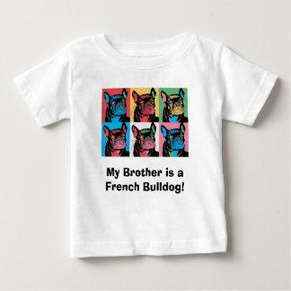 Camiseta Para Bebê Meu irmão é um buldogue francês!