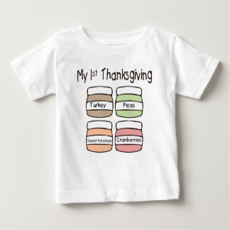Camiseta Para Bebê Meu primeiro t-shirt da acção de graças