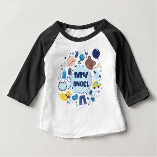 Camiseta Para Bebê Meu raglan da luva do bebê do anjo