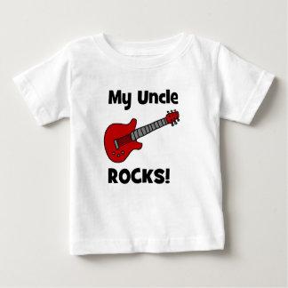 Camiseta Para Bebê Meu tio Rocha! com guitarra