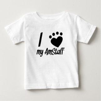 Camiseta Para Bebê Mim coração meu AmStaff
