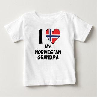 Camiseta Para Bebê Mim coração meu vovô norueguês