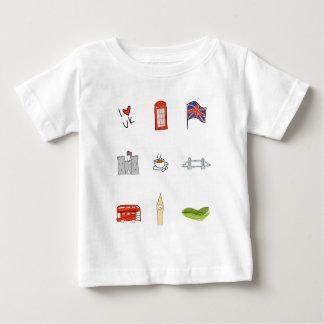 Camiseta Para Bebê Mim coração Reino Unido, amor britânico, marcos