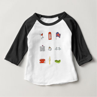 Camiseta Para Bebê Mim coração Reino Unido, amor britânico, marcos de