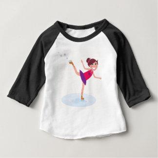 Camiseta Para Bebê Miúdo do patinagem no gelo no branco