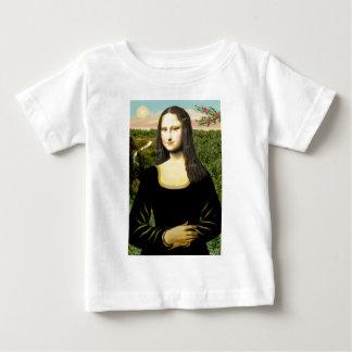 Camiseta Para Bebê Mona Lisa - adicione um animal de estimação