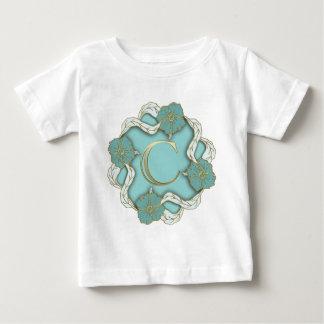 Camiseta Para Bebê monograma do alfabeto c