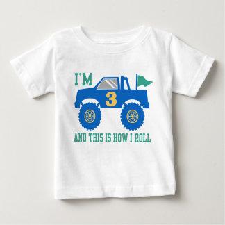 Camiseta Para Bebê Monster truck do aniversário de 3 anos