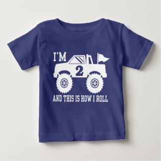 Camiseta Para Bebê Monster truck do segundo aniversário