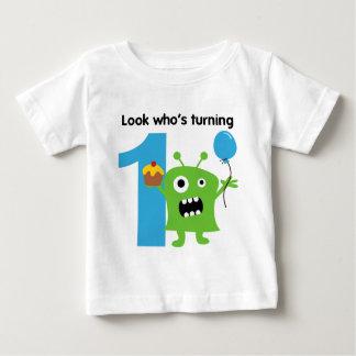 Camiseta Para Bebê Monstro bonito do Tshirt do primeiro aniversario